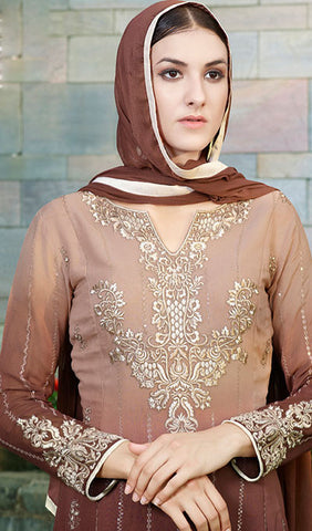 Designer Straight Cut Suit:atisundar stunning Beige And Brown Designer Straight Cut  - 9372 - atisundar - 3