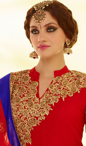 Designer Embroidered Straight Cut:atisundar graceful Red Designer Straight Cut Embroidered Suits - 8776 - atisundar - 5