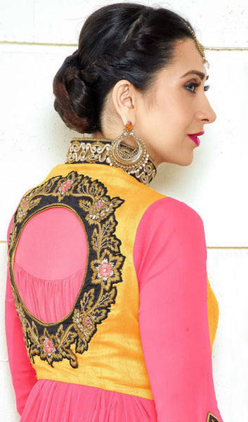 Designer Embroidered Anarkali and Straight Cut Suit:atisundar resplendent Pink Designer Embroidered Suits - 9111 - atisundar - 4 - click to zoom