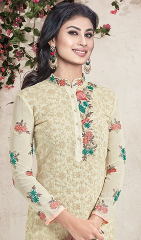 The Mouni Roy Collection:atisundar superb Cream Designer Embroidered Suits Featuring Mouni Roy - 10161