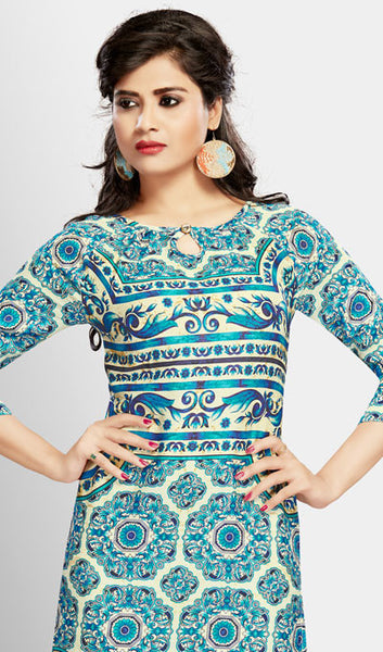 Designer Tops:atisundar Superb Digital Printed Cotton Designer Digital Printed Top in Blue - 10271 - click to zoom