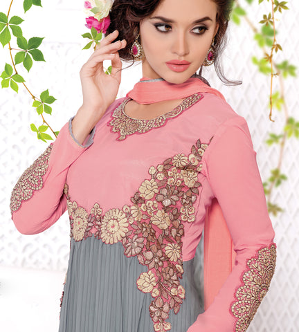 Designer Straight Cut:atisundar Awesome Peach And Grey Designer Straight Cut  - 8446 - atisundar - 3