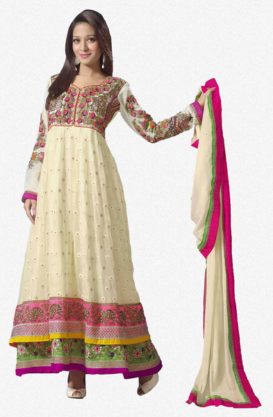 Premium Faux Georgette Party Wear Anarkalis:atisundar pretty 60 Gm Georgette Designer Semi-stitched Party Wear Anarkalis in Cream - 5791 - atisundar - 1 - click to zoom