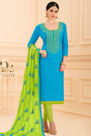 Designer Straight Cut:atisundar radiant Sky Blue Designer Party Wear Embroidered Straight Cut  - 12642 - click to zoom