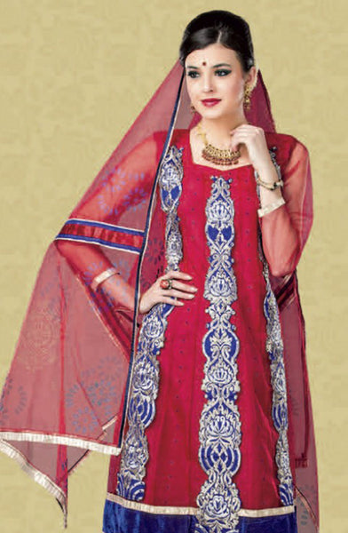 atisundar Poornima: Marvelous Unstitched Salwar Kameez In Red - 2909 - atisundar - 4 - click to zoom