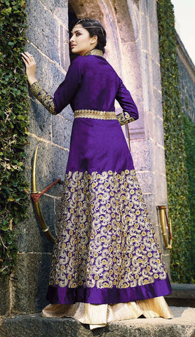 Designer Embroidered Lehenga:atisundar comely Banglori Silk Lehenga in Purple - 8408 - atisundar - 3