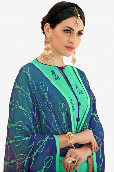 Designer Straight Cut:atisundar refined Sea Green Designer Party Wear Embroidered Straight Cut  - 12644 - click to zoom