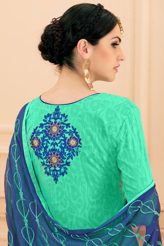 Designer Straight Cut:atisundar refined Sea Green Designer Party Wear Embroidered Straight Cut  - 12644