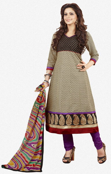 Aamna Shariff Printed Poly Cotton Anarkali:atisundar refined Cream Printed Ready to Stitch Anarkali - 6079 - atisundar - 2 - click to zoom