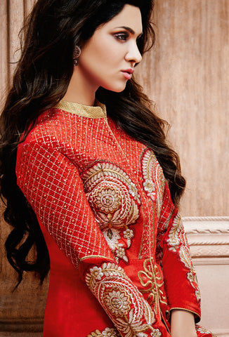 Designer Straight Cut:atisundar excellent Red Designer Straight Cut  - 7621 - atisundar - 4