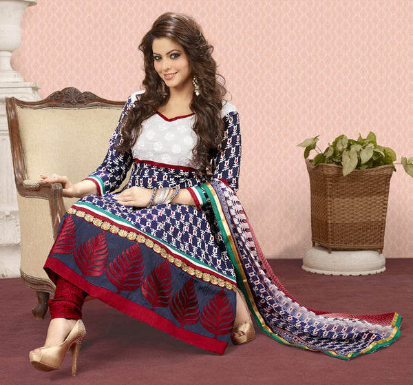 Aamna Shariff Printed Poly Cotton Anarkali:atisundar cute  Blue Printed Ready to Stitch Anarkali - 6084 - atisundar - 4 - click to zoom