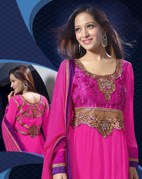 Premium Faux Georgette Party Wear Anarkalis:atisundar wonderful 60 Gm Georgette Designer Semi-stitched Party Wear Anarkalis in Pink - 5798 - atisundar - 3 - click to zoom