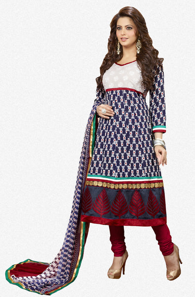Aamna Shariff Printed Poly Cotton Anarkali:atisundar cute  Blue Printed Ready to Stitch Anarkali - 6084 - atisundar - 2 - click to zoom