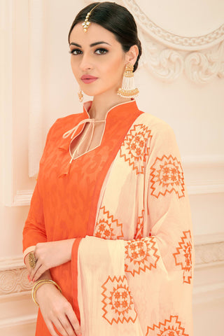 Designer Straight Cut:atisundar refined Orange Designer Party Wear Embroidered Straight Cut  - 12651