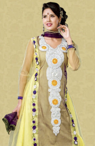 Smart Embroidery: Yellow Unstitched Salwar Kameez By atisundar - 2916 - atisundar - 3