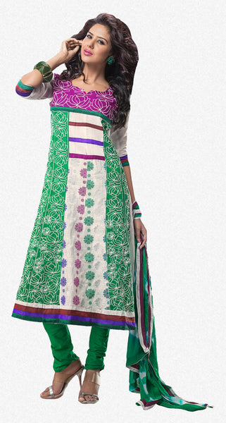 atisundar Rameshwari: Superb Unstitched Salwar Kameez In Green - 3017 - atisundar - 2 - click to zoom
