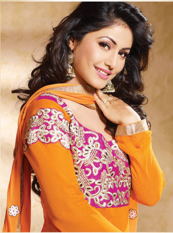Siya Saeeda: Excellent Unstitched Salwar Kameez In Orange - 4121 - atisundar - 4