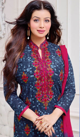The Ayesha Takia Collection:atisundar fascinating Blue Designer Straight Cut Suits With Embroidery On Printed Cotton Satin Featuring Ayesha Takia - 10443 - atisundar - 3