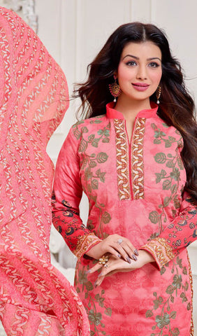 The Ayesha Takia Collection:atisundar wonderful Pink Designer Straight Cut Suits With Embroidery On Printed Cotton Satin Featuring Ayesha Takia - 10445 - atisundar - 3