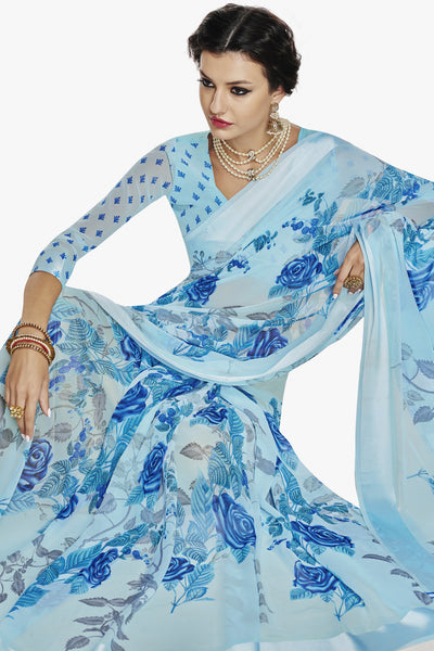 Designer Partywear Saree:atisundar radiant Designer Printed Saree with Fancy Border in Satin Georgette in Sky Blue  - 10766 - click to zoom