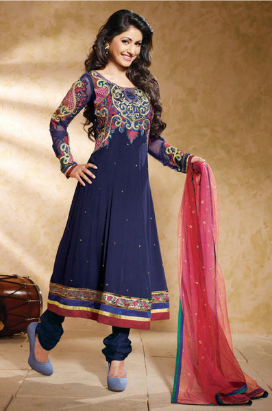 Ravishing Embroidered Anarkali Blue Unstitched Salwar Kameez By Siya - 4122 - click to zoom