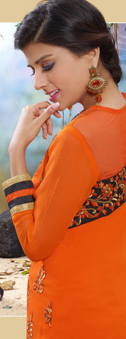 Designer Straight Cut Suit!:atisundar admirable Orange Designer Straight Cut  - 7122 - atisundar - 4 - click to zoom