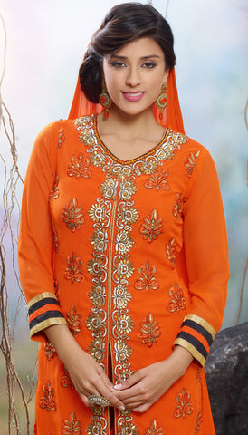 Designer Straight Cut Suit!:atisundar admirable Orange Designer Straight Cut  - 7122 - atisundar - 5 - click to zoom