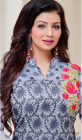 The Ayesha Takia Collection:atisundar enticing Grey Designer Straight Cut Suits With Embroidery On Printed Cotton Satin Featuring Ayesha Takia - 10446 - atisundar - 3