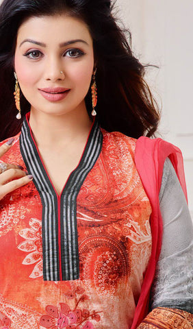 The Ayesha Takia Collection:atisundar exquisite Peach And Grey Designer Straight Cut Suits With Embroidery On Printed Cotton Satin Featuring Ayesha Takia - 10447 - atisundar - 3