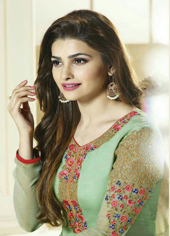 The Prachi Desai Collection:atisundar Lovely Green Designer Embroidered Straight Cut Suits In Faux Georgette - 9587 - atisundar - 3