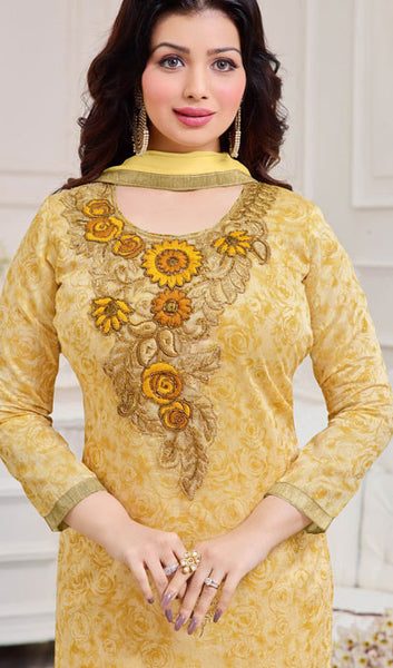The Ayesha Takia Collection:atisundar classy Light Yellow Designer Straight Cut Suits With Embroidery On Printed Cotton Satin Featuring Ayesha Takia - 10448 - atisundar - 3 - click to zoom
