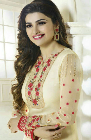 The Prachi Desai Collection:atisundar exquisite Cream Designer Embroidered Straight Cut Suits In Faux Georgette - 9588 - atisundar - 2 - click to zoom