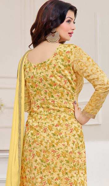 The Ayesha Takia Collection:atisundar classy Light Yellow Designer Straight Cut Suits With Embroidery On Printed Cotton Satin Featuring Ayesha Takia - 10448 - atisundar - 2 - click to zoom