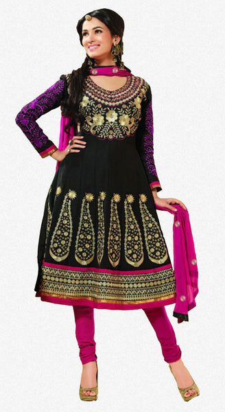 Sonal Chauhan in an Admirable Embroidery Black Unstitched Salwar Kameez By atisundar - 3032 - atisundar - 1 - click to zoom