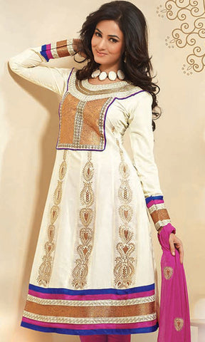 atisundar Surama: Splendid Unstitched Salwar Kameez In Cotton - 3033 (featuring Sonal Chauhan) - atisundar - 4 - click to zoom