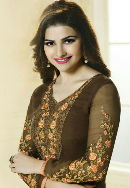 The Prachi Desai Collection:atisundar charming Brown Designer Embroidered Straight Cut Suits In Faux Georgette - 9590 - atisundar - 2 - click to zoom