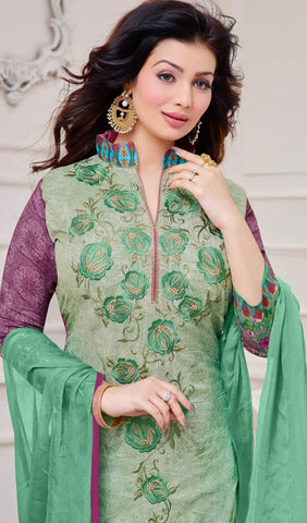 The Ayesha Takia Collection:atisundar Smart Sea Green And Purple Designer Straight Cut Suits With Embroidery On Printed Cotton Satin Featuring Ayesha Takia - 10450 - atisundar - 3