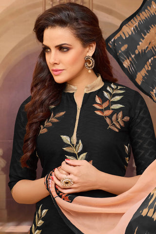 Designer Straight Cut:atisundar lovely Black Designer Party Wear Straight Cut  - 13958