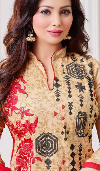 The Ayesha Takia Collection:atisundar Lovely Beige And Red Designer Straight Cut Suits With Embroidery On Printed Cotton Satin Featuring Ayesha Takia - 10453 - atisundar - 3 - click to zoom