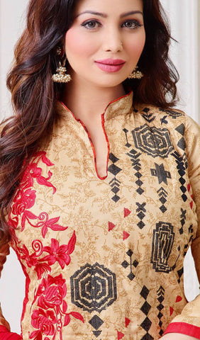 The Ayesha Takia Collection:atisundar Lovely Beige And Red Designer Straight Cut Suits With Embroidery On Printed Cotton Satin Featuring Ayesha Takia - 10453 - atisundar - 3