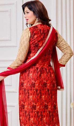 The Ayesha Takia Collection:atisundar Lovely Beige And Red Designer Straight Cut Suits With Embroidery On Printed Cotton Satin Featuring Ayesha Takia - 10453 - atisundar - 2 - click to zoom