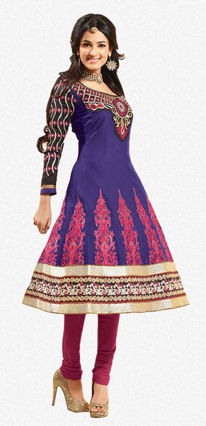 Fair Embroidery Blue Unstitched Salwar Kameez By atisundar - 3037 (featuring Sonal Chauhan) - atisundar - 1 - click to zoom