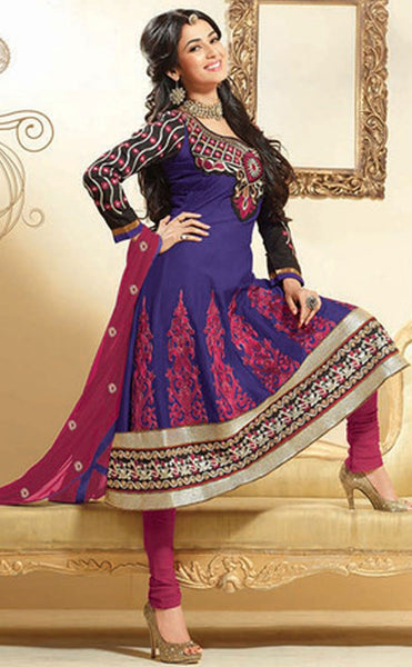 Fair Embroidery Blue Unstitched Salwar Kameez By atisundar - 3037 (featuring Sonal Chauhan) - atisundar - 4 - click to zoom