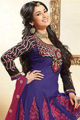 Fair Embroidery Blue Unstitched Salwar Kameez By atisundar - 3037 (featuring Sonal Chauhan)