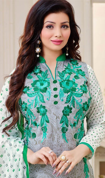 The Ayesha Takia Collection:atisundar cute Grey And Sea Green Designer Straight Cut Suits With Embroidery On Printed Cotton Satin Featuring Ayesha Takia - 10454 - atisundar - 3 - click to zoom