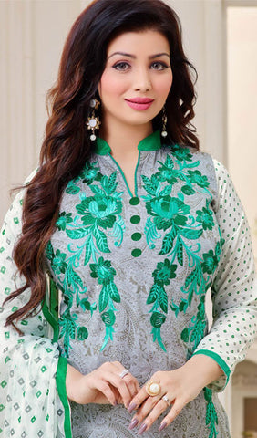 The Ayesha Takia Collection:atisundar cute Grey And Sea Green Designer Straight Cut Suits With Embroidery On Printed Cotton Satin Featuring Ayesha Takia - 10454 - atisundar - 3