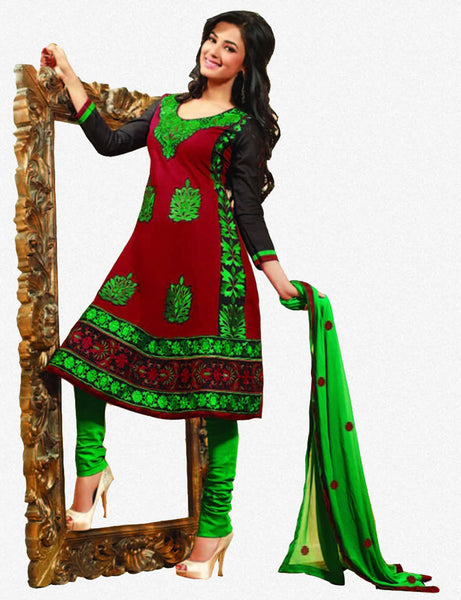 Sonal Chauhan in a Lovely Embroidery Red Unstitched Salwar Kameez By atisundar - 3038 - atisundar - 1 - click to zoom