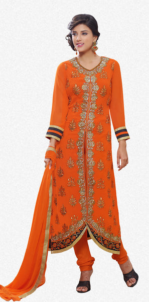 Designer Straight Cut Suit!:atisundar admirable Orange Designer Straight Cut  - 7122 - click to zoom