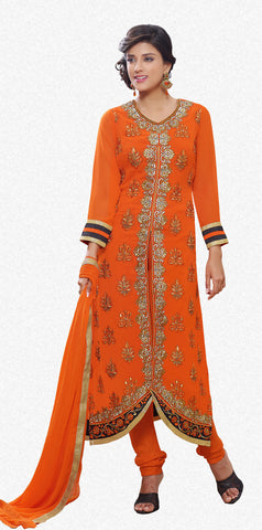 Designer Straight Cut Suit!:atisundar admirable Orange Designer Straight Cut  - 7122 - atisundar - 2 - click to zoom
