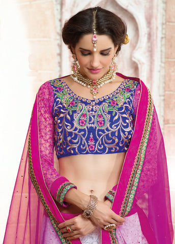 Designer Embroidered Lehenga Saree:atisundar gorgeous Dhupion Designer Embroidered Lehenga Saree in Blue - 6324 - atisundar - 5